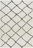Mint Rugs 102753 Design Velours Teppich Hochflor Hash, Polypropylen, creme schwarz, 230 x 160 x 3.5 cm