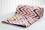 #10: AURAVE Peach Multicolored Zigzag Pattern Reversible Cotton Duvet Cover/Quilt Cover - Single Size
