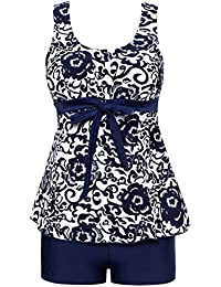 Ecupper Women's Tankini Sets Swimwear Plus Size Swimsuit with Shorts