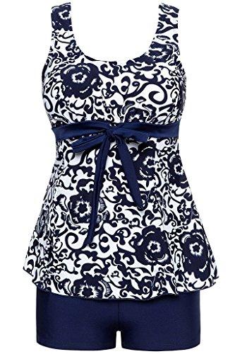 Ecupper Damen Tankini Set Zweiteiler Badeanzug mit Shorts Gepolstert Bademode Top+Shorts Große Größen Dunkel Blau 2XL -