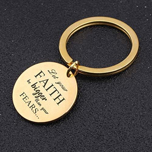 DCFVGB Runder Schlüsselanhänger Aus Edelstahl Mit Gravur Lassen Sie Ihren Glauben Größer Sein Als Ihre Ängste Inspirational Gift Hand Stamped Key Fobs -
