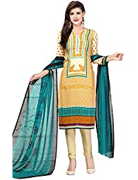 A K Designer Women's Chiffon Dress Material (Mehak10007_Free Size_Yellow)