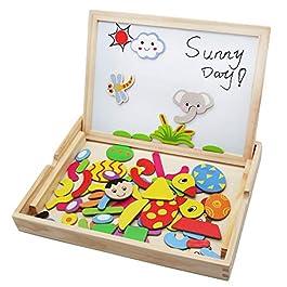 Lavagna Magnetica Puzzle Animali Giochi Montessori Legno Jigsaw Puzzle 72 PCS per Bambini 3 4 5