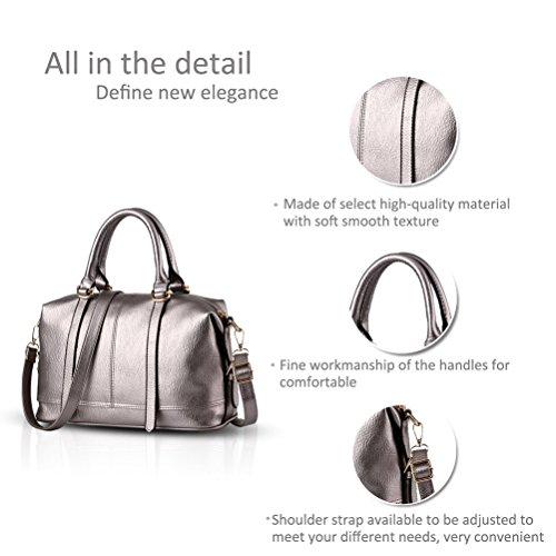Honeymall Damen Tote Handtasche Soft Gewaschenem elegante hochwertige Henkeltasche Schultertasche(Silber) Silber