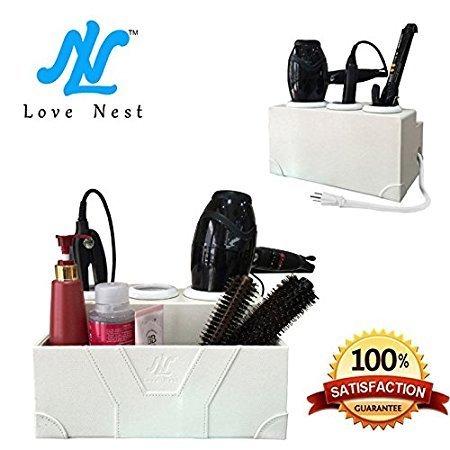 Love Nest Fönhalter Weiß Persönlichen Schlange Haartrocknerhalter Leder und Keramik Haarstyling Aufbewahrungsbox