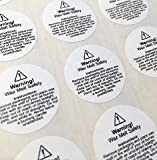 54 wax melt usage safety stickers - required by law (small, 29mm circles)