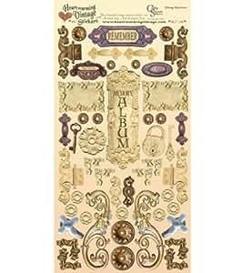 Réconfortant de papier cartonné Vintage Stickers feuille de laiton de 6 « X 12 » & matériel crème