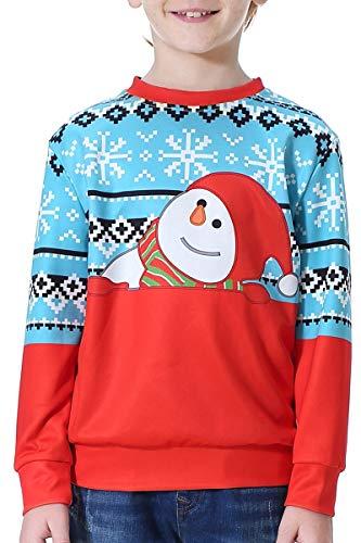 BesserBay Kinder Weihnachten Sweatshirts Jumper Shirts Pullover Christmas Geschenk für Jungen 2-12 Jahre, Rot, 7-8 Jahre (Pullover Kinder Weihnachten)