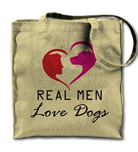 Real Men Love Dogs Funny Pet Natural Canvas Tote Bag, Cloth Shopping Shoulder Bag -