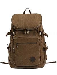 iBaste hombres/mujeres lona mochila del morral de la taleguilla del bolso de hombro del ordenador portátil Bolsas de viaje paquetes (caqui)
