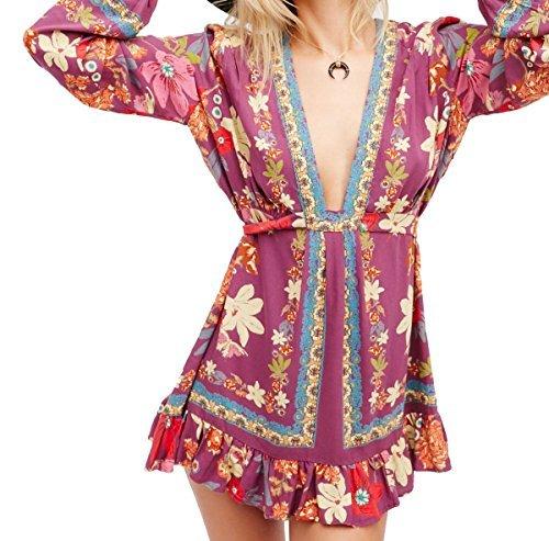 free-people-femmes-violet-hill-tunique-imprime-floral-bas-col-pigeonnant-us-dimensionnement-aubergin