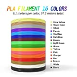 Fukkie 3D Stift Filament - 16 Farben 6,1M PLA Filament 1,75mm Ink Filament 3D Drucker Material für 3D Stift, 3D Drucker, 3D Pen