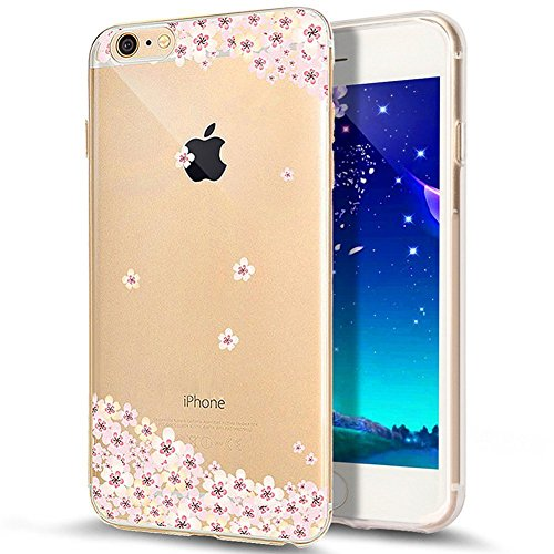 iPhone 7 Plus Hülle,iPhone 7 Plus 2016 Hülle,JAWSEU Luxus Gold Klare Ultradünne Silikon Gel Schutzhülle Durchsichtig Kristall Transparent TPU Silikon Bumper Schutz Handyhülle Case Tasche Etui für iPho Kirschblüte#3