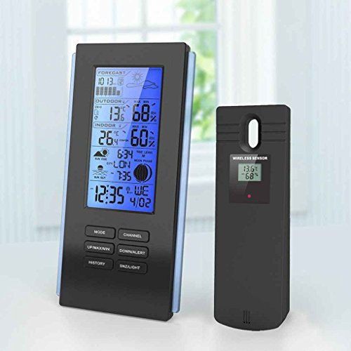 Bomcomi Wireless-Hintergrundbeleuchtung Thermo-Hygrometer Regen Glas Barometer Wetterstation Uhr Humidometer Temperaturanzeige - Wireless Thermo-hygrometer