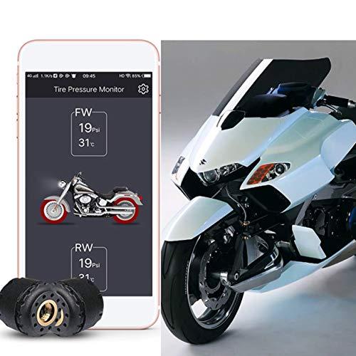 Black GZCRDZ Motorcycle Bluetooth Tire Pressure Monitoring System TPMS Mobile Phone APP Detection 2 External Sensors