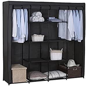 woltu ss5024gr armoire de rangement en tissu pliant xxxl penderie de chambre 174x46x169cm gris. Black Bedroom Furniture Sets. Home Design Ideas