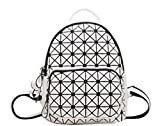Zaino delle donne Geometric Plaid Paillettes PU Leather Bagpack Donne Zaino Scool Zaini Teenage Y826 WHITE