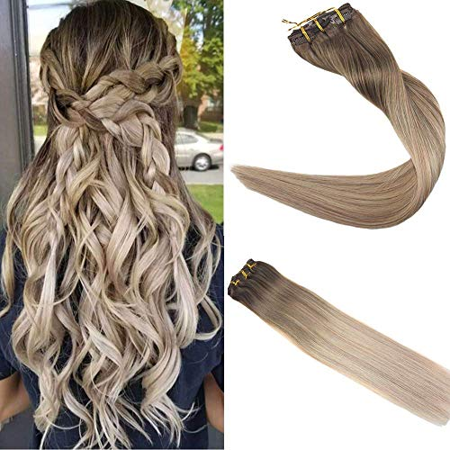 Easyouth Klip in Extensions 18 Zoll 100g 10Pcs Pro Paket Farbe 8 Ash Brown Fading Zu 60 Blonde Fading Zu 18 Ash Blonde Haarverlängerung Klipp Clip in Extensions Lockig