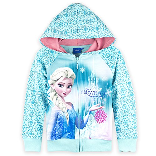 Official Disney Frozen, Girls Hoodie, Hooded Jumper Sweatshirt - Blue 4 Years