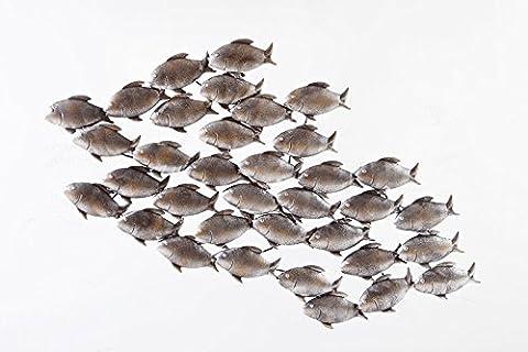 Dipamkar®Large Home Decor Aged Grey Metal School of Fish in