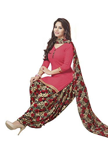 Ishin Synthetic Peach Party Wear Wedding Wear Casual Daily wear Festive Wear Bollwood New Collection Printed Latest Design Trendy Unstitched Salwar Suit Dress Material (Anarkali/Patiyala) With Dupatta