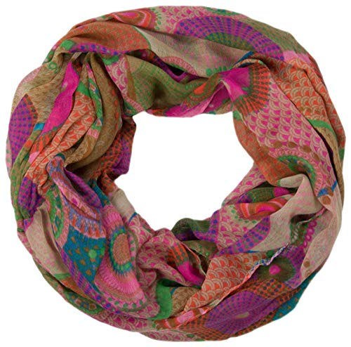 styleBREAKER Ethno Design Loop Schlauchschal mit bunten Kreisen und Punkten 01016012 (Violett-Rose-Grün)