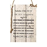 Wand Deko Holzschild mit Spruch im Shabby Chic Vintage Stil (29x20x0,5cm) NIMM DIR ZEIT - die Geschenkidee