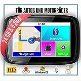 Elebest Rider W5 Navigationsgerät 5 Zoll (12,7 cm) Touchscreen,Motorrad,PKW,Bluetooth,Wasserdicht,Neuste Europa Karten Radarwarner,24GB Speicher,Blitzerwarnung, Inkl Halterung ...