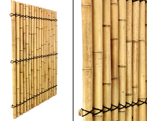 """Bambus Element \""""Apas 16\"""" 150x120cm gelblich mit Verschnurrrung, halbe Rohre mit 6 bis 8cm - Sichtschutzwand Sichtschutzelement Sichtschutz Gartenzaun Zaunelement Sichtschutzwände Gartenzäune"""