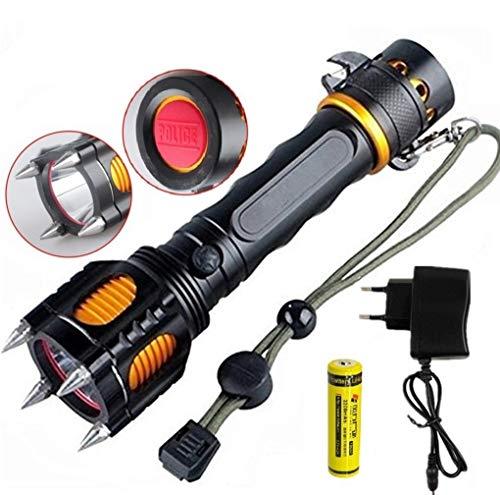 Taktische Selbstverteidigung Taschenlampe CREE L2 1200 Lumen 10W 5 Modi Sirene Flashing Licht mit 18650 Akku und Ladegerät für die Kampierende Jagd Notfalltaschenlampe