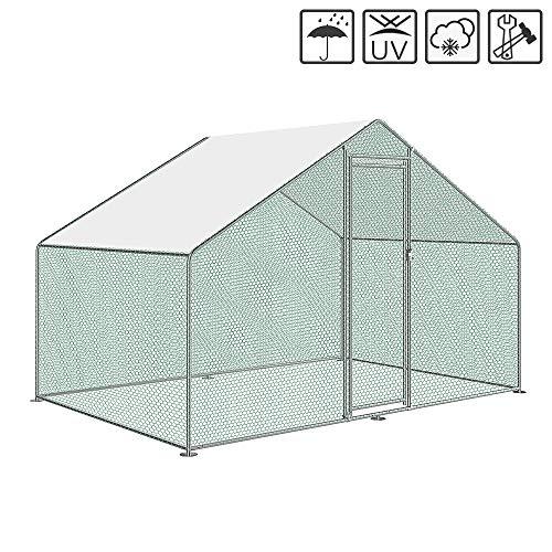 Aufun gabbia per galline con serratura, telaio in acciaio zincato, tetto rivestito in pvc per gabbia per pollame, gabbia per uccelli, piccoli animali