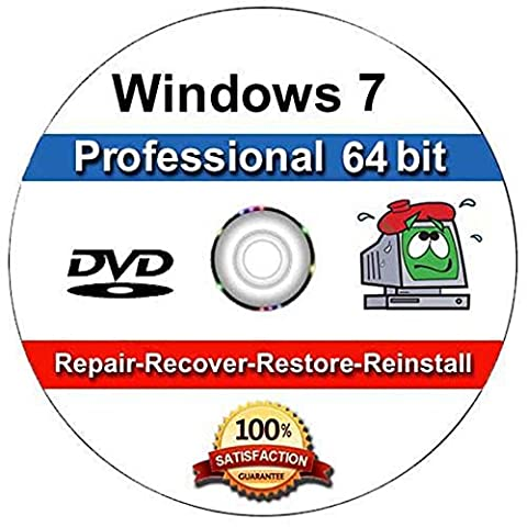 WINDOWS 7 Professional 64 Bit Compatible Versions Re-install Windows Factory Fresh! Recover, Repair, Re Install - Restore Boot Disc ~ Fix PC - Laptop - Desktop