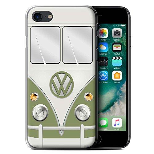 Stuff4 Gel TPU Hülle / Case für Apple iPhone 7 / Blau Taube Muster / Retro T1 Wohnmobil Bus Kollektion Mango Grün