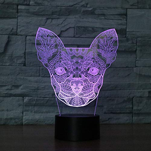 KangYD Luz nocturna 3D/Color intermitente Chihuahua 3D Perros pequeños Luz nocturna LED...