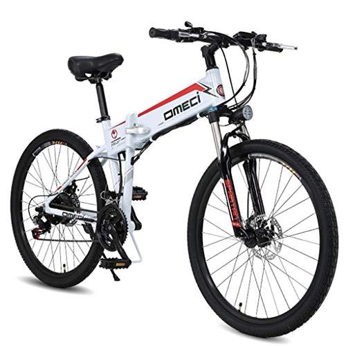 Xiaotian 26 Zoll elektrisches faltendes Fahrrad-Fahrrad-Rennrad-Doppelsuspendierungs-Motor 48V10ah 300W, Aluminiumlegierungs-Rahmen,White -