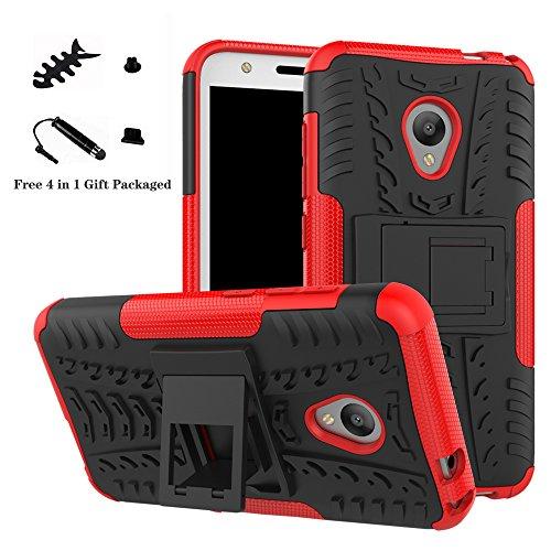 LiuShan Alcatel U5 Hülle, Dual Layer Hybrid Handyhülle Drop Resistance Handys Schutz Hülle mit Ständer für Alcatel U5 Smartphone (mit 4in1 Geschenk verpackt),Rot