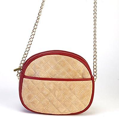 Bolso mujer,color guinda y arena,100% piel,hecho en Ubrique/Cherry & sand bag 100% leather handmade in Spain
