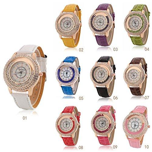 Juanya Women Men's Quartz Watch Luxury Diamond Rhinestone Quicksand Beads Watch Women Casual Fashion Leather Quartz Wristwatch