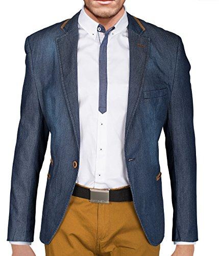BetterStylz Berto Homme un Bouton Jeans Veston Blazer Veste de Coustume Slim Fit Taille ajustée Homme diverse couleurs 48-58 bleu foncé