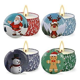 Inicio 4 Unids/Set Velas Perfumadas de Navidad Planta de Cera de Soja Aceite Esencial Vela de Aromaterapia Sin Humo para La decoración de La Fiesta de Navidad Del Dormitorio Del Hog
