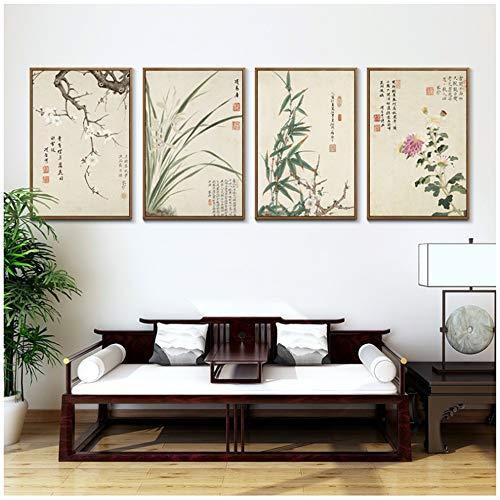 Vintage Kunst Chinesischen Stil Meilan Bambus Und Buchstaben Poster Drucken Home Leinwand Malerei Bild Wandkunst Dekoration-50x70 cm Kein Rahmen