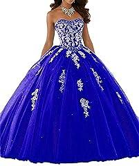 Idea Regalo - ANJURUISI Vestito da Quinceanera da Abito da Sposa di Tulle dell'innamorato delle donne Reale Blu-32