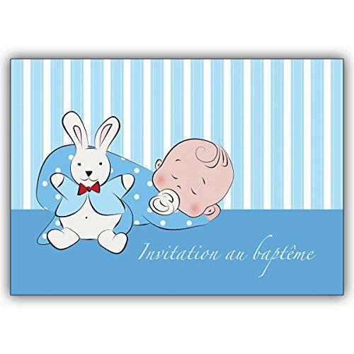10 Stück Set: Französische Jungen Tauf Einladung mit Baby und Häschen: Invitation au baptême • zauberhafte Baby Party Karte, Einladungs Klappkarte um Familie und Freunde einzuladen, individuelle Babykarte um mit der Familien zu feiern