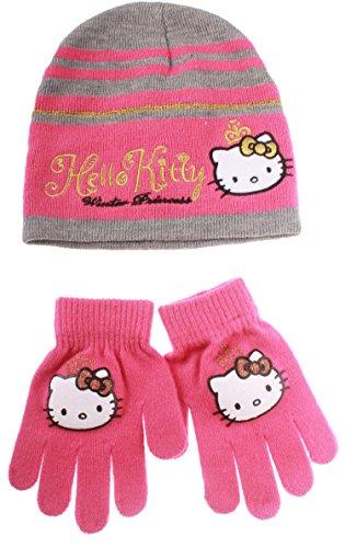 Set Mütze und Handschuhe Kinder Mädchen Hello Kitty 'Winter Princess' grau/dunkelrosa R3606S (Hello Kitty Mütze Baby)