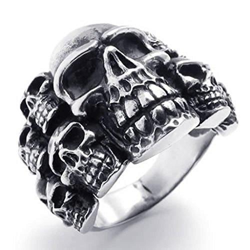 Beydodo Modeschmuck Herren Edelstahlring Schädel Totenkopf Herrenringe Schwarz Silber Ringgröße72 (22.9) (Gardinenstange Schädel)