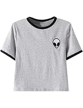 Faith Wings Chica Casual Tops Camisetas Alien Impresión Blusa de Camiseta de Manga