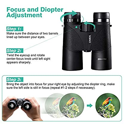 12x42 Binoculars for Adults, VENTONA Panther High Power Compact Binoculars for Bird Watching/Outdoor Sports, Waterproof Fog-proof HD Optics Telescope BAK4 Prism FMC Lens with Neck Strap/Carrying Bag