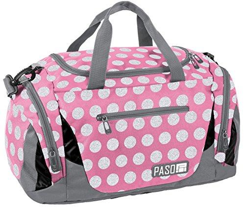 SPORTTASCHE Reisetasche Mädchen Jungen Damen Sauna Tasche Sport Schul Weekender Rosa Punkte (Weekender Rosa)