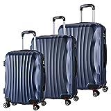WOLTU RK4213bl, Reise Koffer Trolley Hartschale 4 Rollen Volumen erweiterbar, Reisekoffer Hartschalenkoffer Handgepäck, M/L / XL/Set, leicht und günstig, Blau 3er Set (M+L+XL)