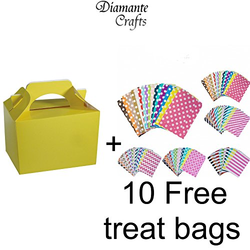 10-party-boxes-cardboard-lunch-food-loot-treat-box-13-colours-yellow-10-solid-colour-plus-10-free-pa